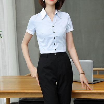 女装衬衣蓝百夏季职业装衬衫工服