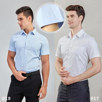 职业装衬衫男士短袖衬衣细斜纹017018款