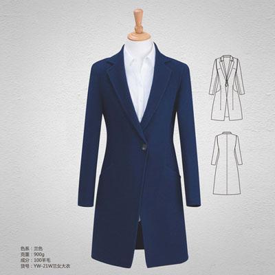 高端100羊毛大衣900克商务羊绒大衣女蓝色yw-21w
