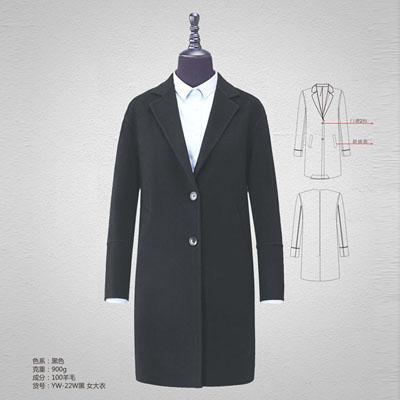 双面呢100%羊毛大衣900g高档羊绒大衣女黑色yw-