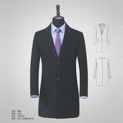 高档羊绒大衣男装双面呢100%羊毛大衣黑色yw-24m