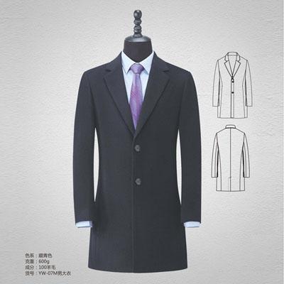 藏青羊绒大衣男装双面呢100%羊毛大衣yw-07m