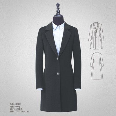 双面呢100%羊毛大衣高档羊绒大衣女藏青yw-12w
