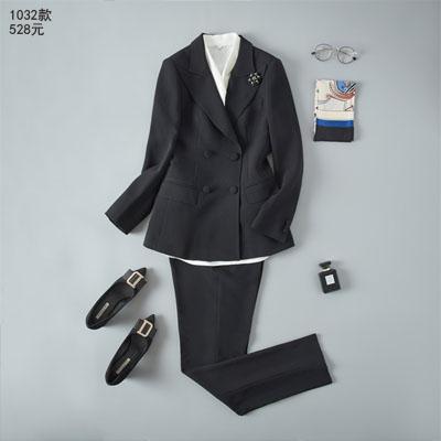 高档西服定制商务休闲女式西装黑色1032款
