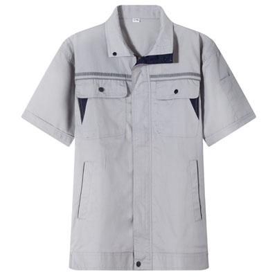 浅灰工服定做工作服夏装短袖工衣