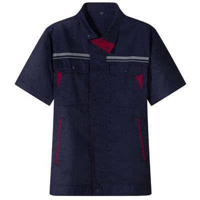 深蓝工服定做工作服夏装短袖工衣