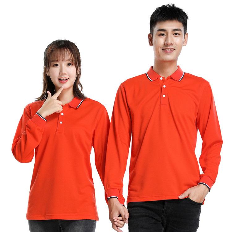 橙色长袖T恤男款女款模特图