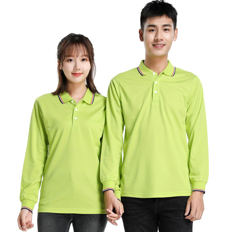 果绿色长袖T恤男款女款模特图