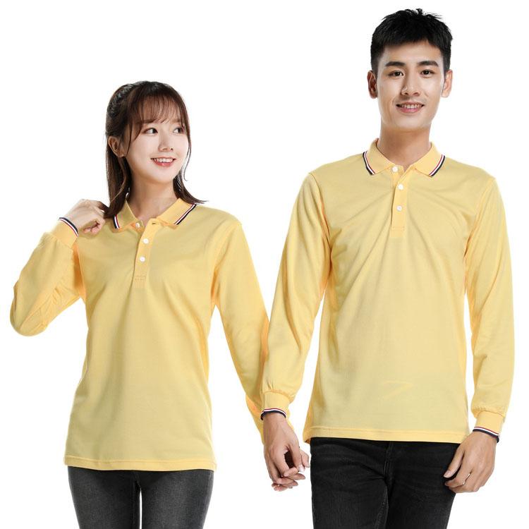 黄色长袖T恤男款女款模特图