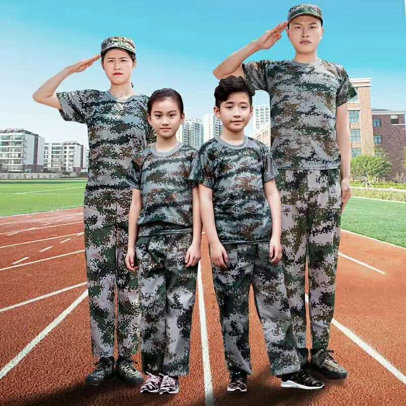军训T恤迷彩服童装成人款式图