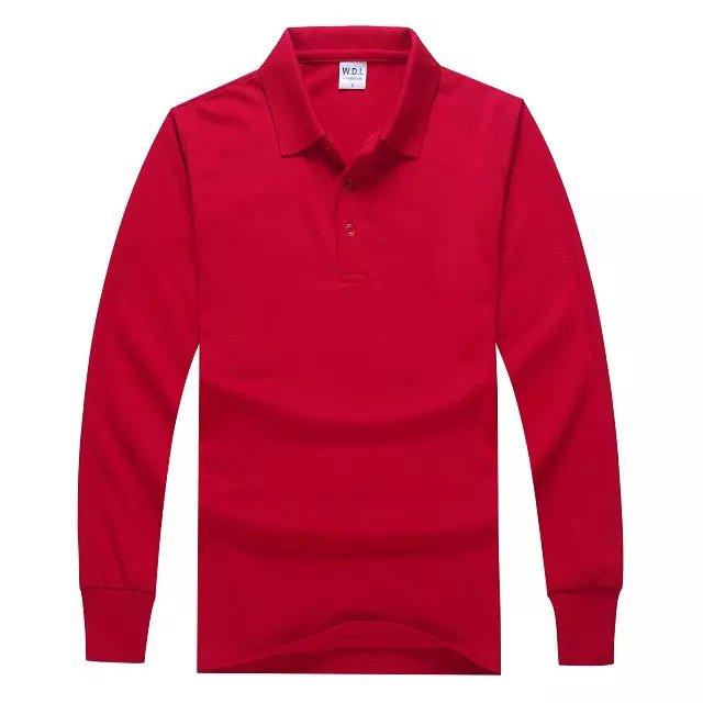长袖POLO衫红色正面