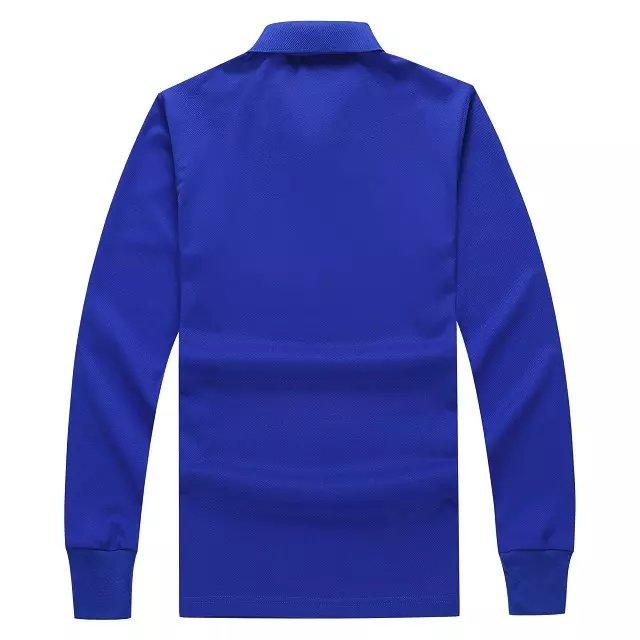 长袖POLO衫宝蓝色背后