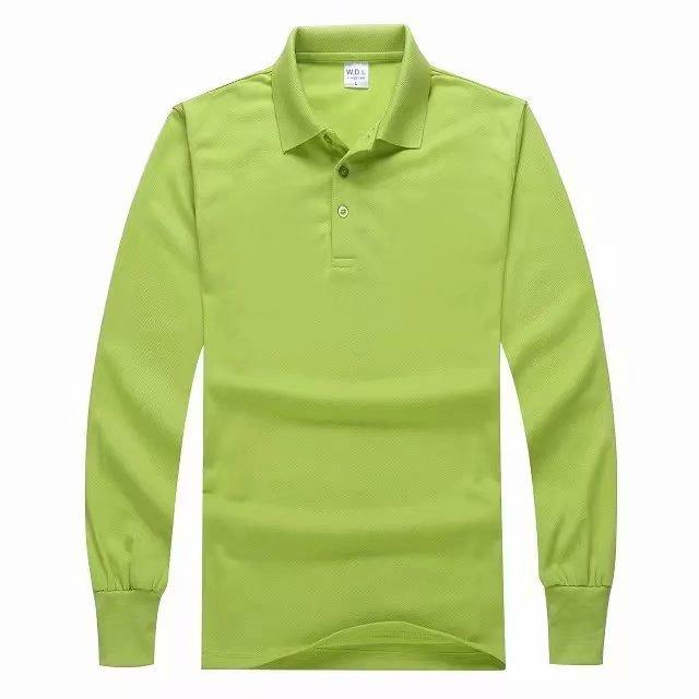 长袖POLO衫果绿色前面