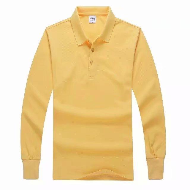 长袖POLO衫黄色正面