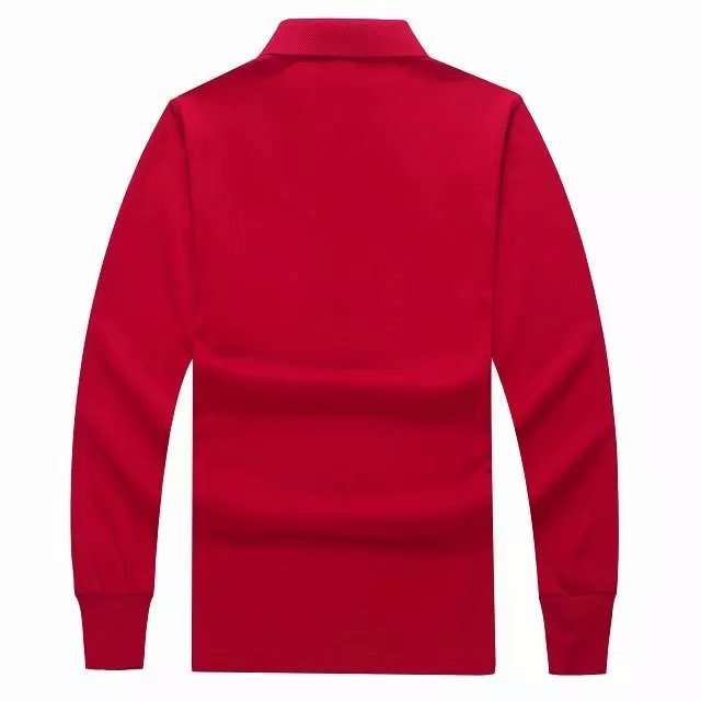 长袖POLO衫红色背面