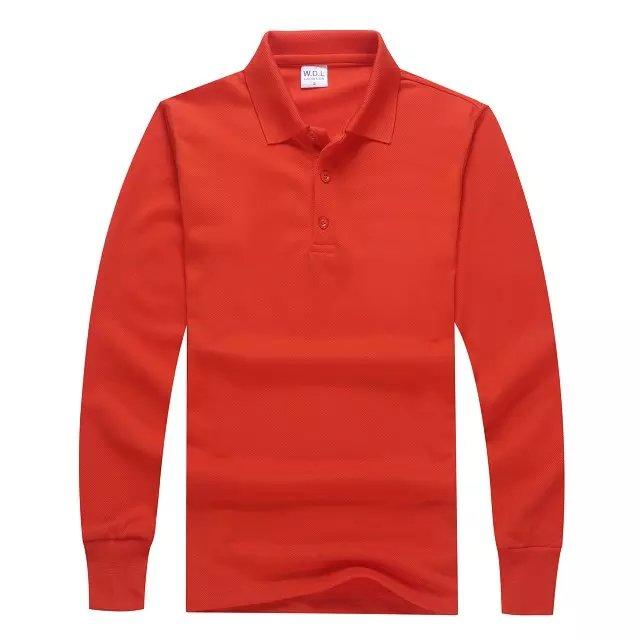长袖POLO衫橙色正面