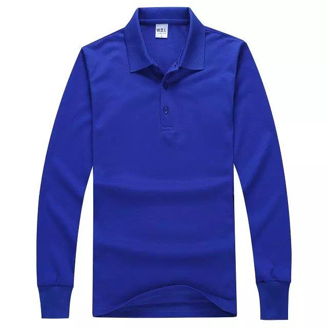 长袖POLO衫宝蓝色