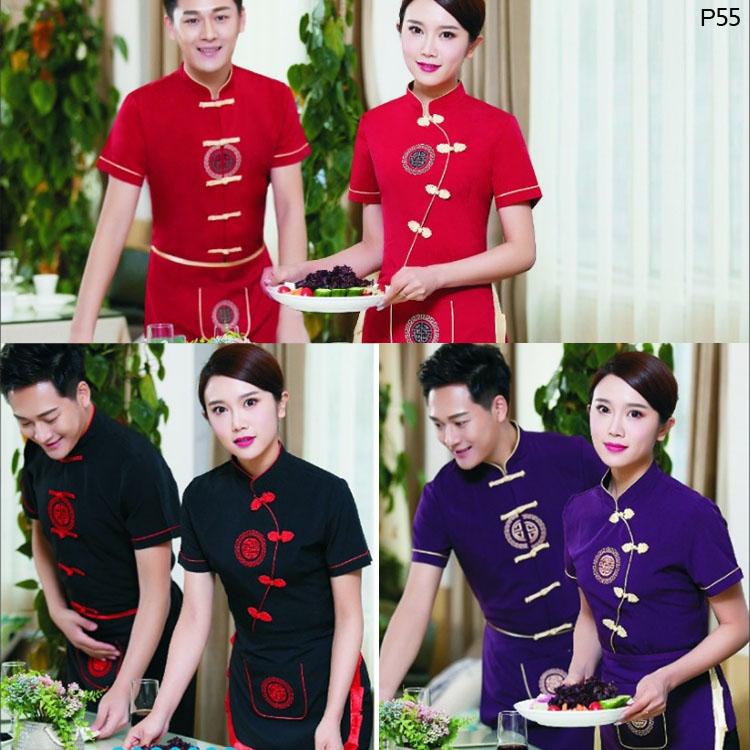 民族风格餐厅服务员工作服款式图