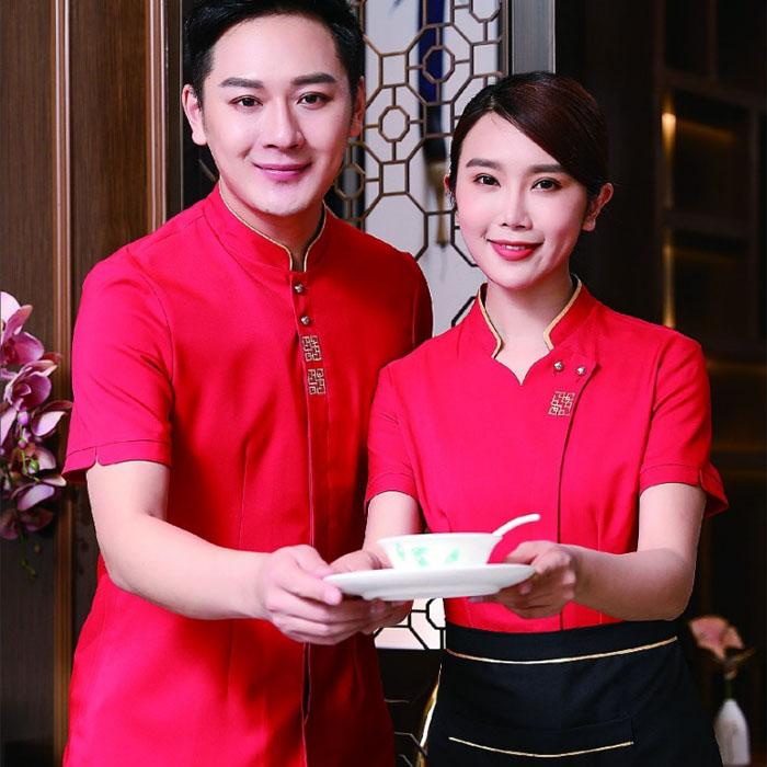 红色餐厅服务员工作服图片款式