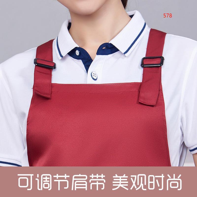 578款枣红色围裙细节