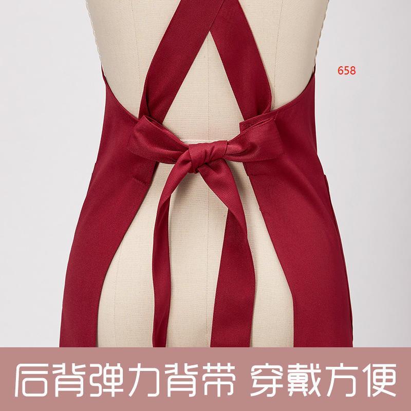 658款枣红色围裙细节图