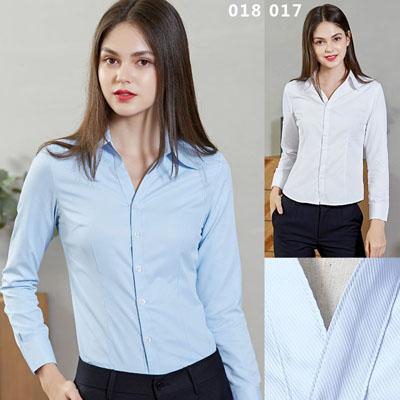 女装衬衫长袖白色蓝色工作服