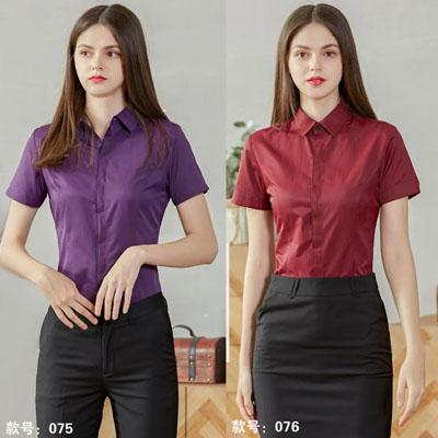 女士衬衣紫色枣红色各种男女职业装
