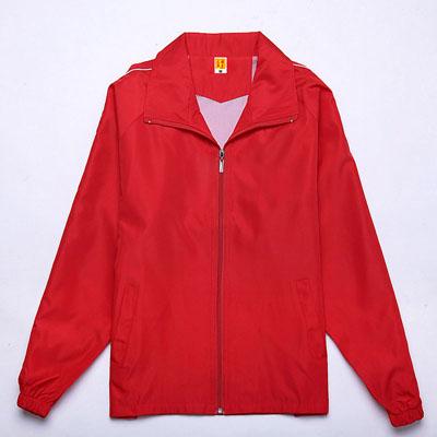 红色广告风衣定制工作服团队服