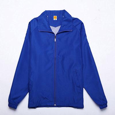 彩蓝色广告风衣定制工作服