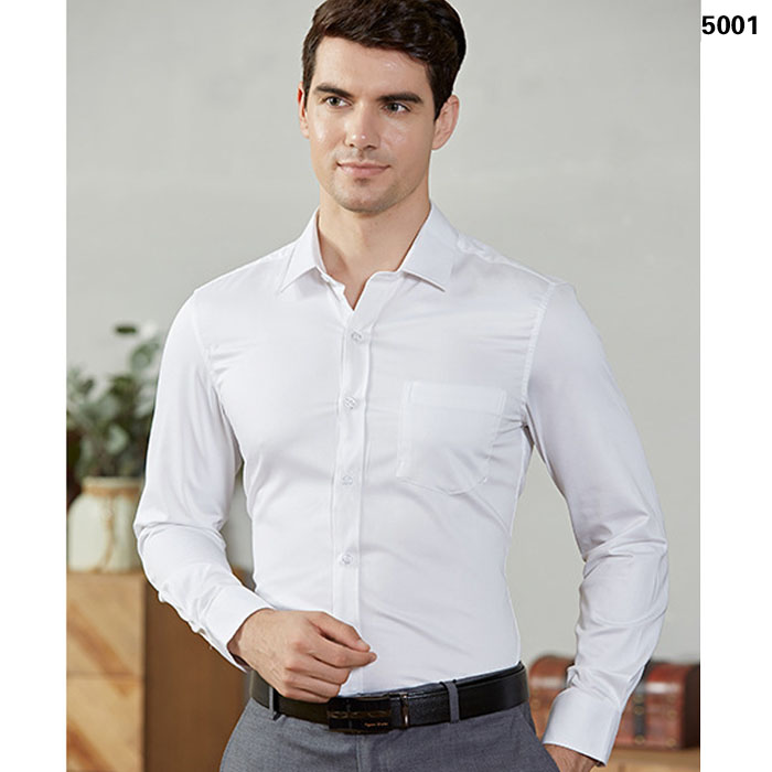 免烫衬衫男士修身长袖工作服衬衣