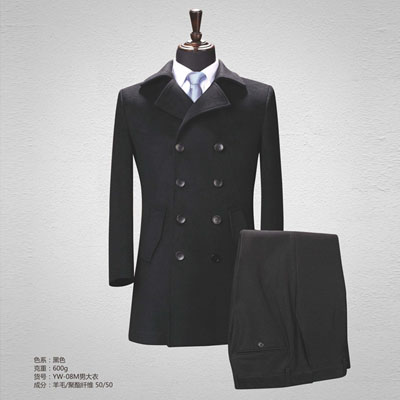 50羊毛大衣男装职业商务休闲大衣黑色yw-08m