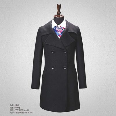 50羊毛大衣女士翻驳领大衣双排扣黑色yw-02w