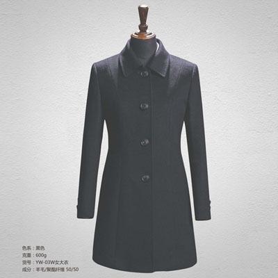 职业装大衣50羊毛大衣女装黑色yw-03w