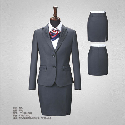 高端平驳领西服定制女士灰色西装订做70毛料