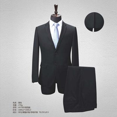 黑色平驳领高端西服定制西装订做70毛料HY7005
