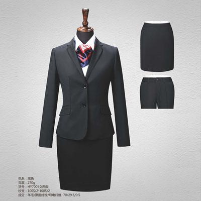 黑色平驳领西服定制女西装订做70毛料HY7005