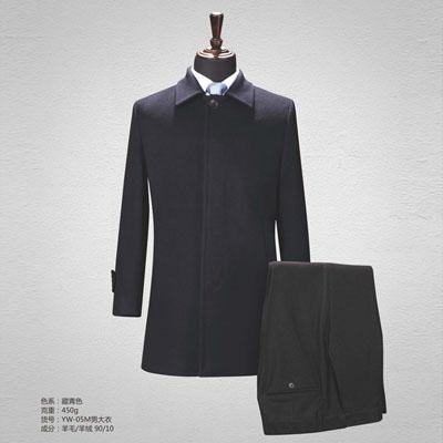 高档90羊毛大衣职业装商务男装黑色yw-05m