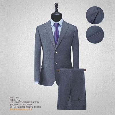 西服定制高端西装订做休闲正装男装开叉灰色