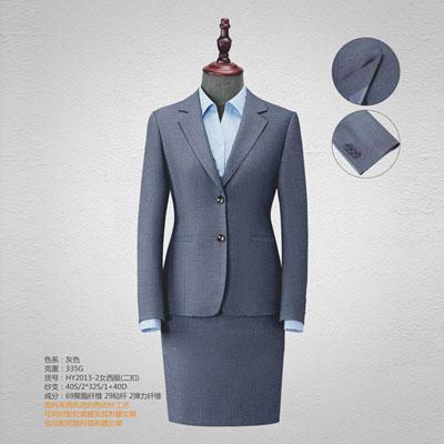 西服定制高端西装订做两粒扣女装灰色HY2013-2